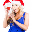 Shocked Woman With Minutes Left To Christmas Time — Stock Photo
