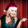Retro Christmas Girl Holding Candy Cane Lolly — Stock Photo