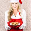 Retro Housewife Baking Christmas Cookies — Stock Photo