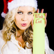 Sexy Xmas Woman Holding Christmas Wish List Sign — Stock Photo