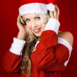 Happy Dj Christmas Girl Listening To Xmas Music - Stock Photo