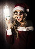 Smart Female Santa Claus With Christmas Idea — Stock Photo