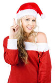 Happy Female Santa Clause Pointing To Copy Space — Stock Photo
