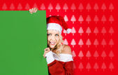 Female Santa Claus Showing Blank Green Sign — Stock Photo