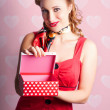 Blond Retro Girl Opening Hearts Present Gift Box — Stock Photo