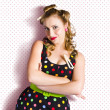 Pretty Retro Cleaning Lady On Polka Dot Background — Stock Photo