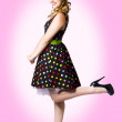 Stock Photo: Cute Pin-Up Style Fashion Model In Retro Dress