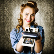 Smiling Young Vintage Girl Taking Polaroid Photo — Stock Photo