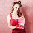Valentine Day Woman With Red Heart Gift From Lover — Stock Photo