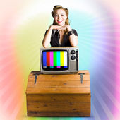 Technology Smart Pinup Woman On Retro Color TV — Stock Photo