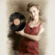 Pin-Up Rockabilly Woman Holding Vinyl Record LP — Stock Photo