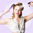 Classic 50s Pinup Girl Combing Hair Style - Stock Photo