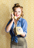 Vintage Fifties Telephone Operator Holding Phone — Stock Photo