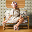 Vintage Fashion Photo Of A Sexy Blond Woman — Stock Photo