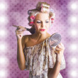 Beautiful Retro Woman Applying Makeup Cosmetics - Stock Photo