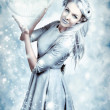 Magic Winter Woman In Luxury Fashion And Makeup — Stock Photo