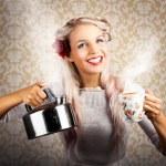 Vintage Coffee Woman Holding Hot Tea Pot — Stock Photo