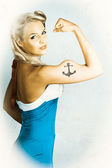 Fit Pin-Up Girl With Big Muscles And Anchor Tattoo — Stock Photo