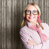 Funny Retro Female Nerd Girl With Dorky Smile — Stock Photo