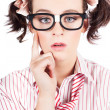 Funny Nerd Business Woman With Smart Idea - Stock Photo