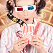 Funny Girl Watching 3D Movie At Cinema — Stock Photo #18581711