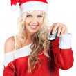 Cute Lady Santa Claus With Computer Mouse — Stock Photo
