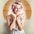 Retro Woman At Beauty Salon Getting New Hair Style — Stock Photo