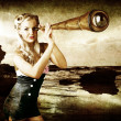 Foto Stock: Beautiful Vintage WomWith Steampunk Telescope