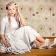 Portrait Of Blonde Girl With Classic Fashion Style - Photo