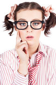 Funny Nerd Business Woman With Smart Idea — Stock Photo