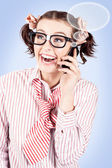 Student on a mobile call with speech bubbles — Stock Photo