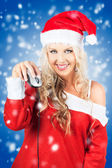 Female Santa Claus Christmas Shopping Online — Стоковое фото