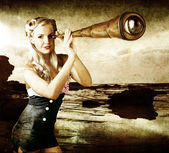 Beautiful Vintage Woman With Steampunk Telescope — Stockfoto