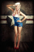 American Fashion Model in Military Pin-up Style — 图库照片