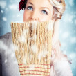 Pin-up Woman Cleaning Up In Cold Blue Winter Snow — Stock Photo