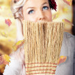 Retro Pinup Girl Doing Spring Clean — Stock Photo
