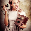Surprised Telephone Operator With Good Or Bad News - Stock Photo