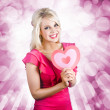Romantic Woman With Heart Shape Valentine Card - Stockfoto