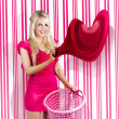 Housework Love With Young Woman Washing Clothes - Stockfoto
