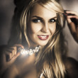 Long Blond Hair Fashion Girl In Night Makeup - Stockfoto