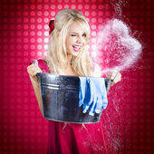 60s Retro Cleaning Lady With Metal Water Bucket — Stock Photo