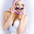 Vintage Blond Beauty In Pinup Fashion Accessories — Stock Photo