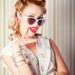 Cute Pinup Fashion Girl With Surprised Expression - Stock Photo