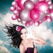 Celebration. Happy Fashion Woman Holding Balloons — Stockfoto