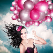 Celebration. Happy Fashion Woman Holding Balloons — Photo