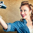Beautiful Retro Woman Taking Selfie With Camera - 图库照片