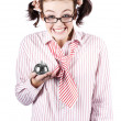 Royalty-Free Stock Photo: Nerd Sales Woman Holding Service Bell Over White