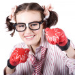 Strong Driven Business Woman Wearing Boxing Gloves - Stock Photo