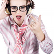 Cool Music Nerd Rocking Out To Metal On Headphones - Stock Photo