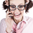 Female Business Person Selling On Smart Phone - Stock Photo